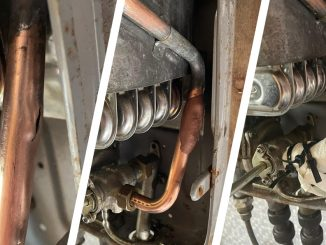 A copper pipe in a boiler system undergoes repair using Superfast Copper Epoxy Putty stick and a SylWrap HD Pipe Repair Bandage